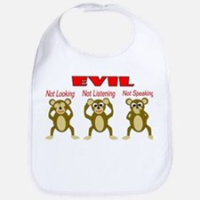 Three Wise Monkeys Bib