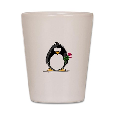 Penguin with a Rose Shot Glass