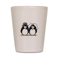 Bride and Groom Penguins Shot Glass