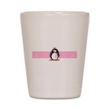 Pink Ribbon Penguin Shot Glass