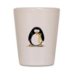 Yellow RIbbon penguin Shot Glass