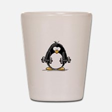 Weight lifting penguin 2 Shot Glass