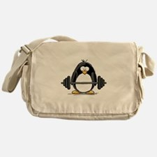 Weight lifting penguin Messenger Bag