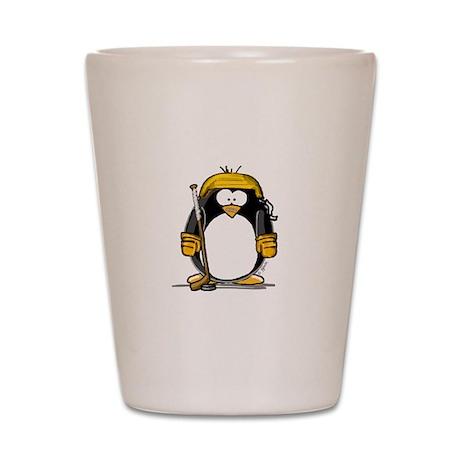 Gold Hockey Penguin Shot Glass