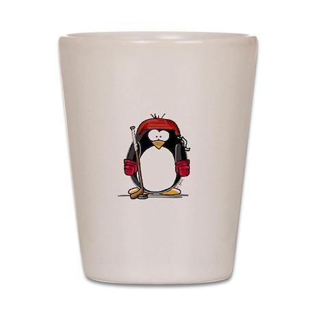 Red Hockey Penguin Shot Glass