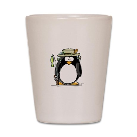 Fishing penguin Shot Glass