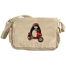 Red Scooter Penguin Messenger Bag