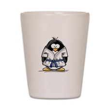 Martial Arts blue belt pengui Shot Glass