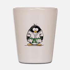 Martial Arts green belt pengu Shot Glass