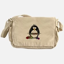 Knitting Penguin Messenger Bag