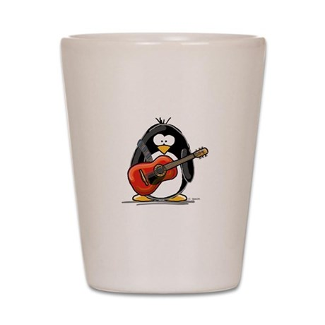 Red Acoustic Guitar Penguin Shot Glass