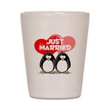 Just Married Penguins Shot Glass