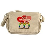 Just Married Rainbow Penguins Messenger Bag