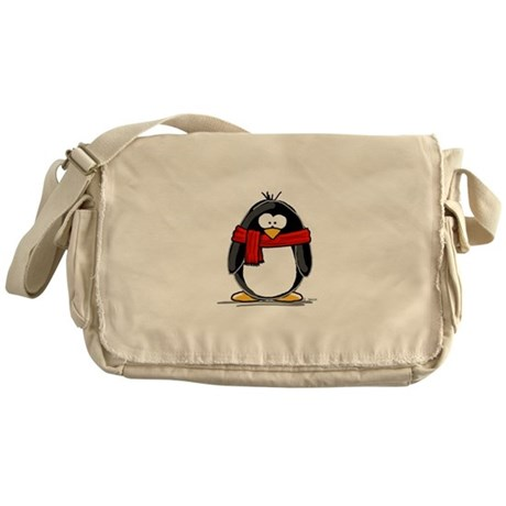 Red Scarf Penguin Messenger Bag
