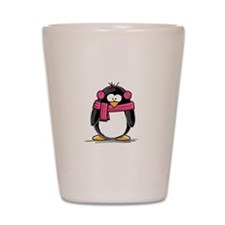 Pink Earmuff Penguin Shot Glass