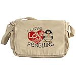 I Love Love Love Penguins Messenger Bag