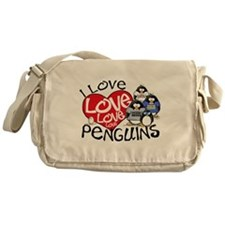 I Love Love More Penguins Messenger Bag