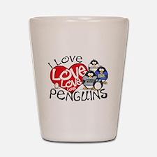 I Love Love More Penguins Shot Glass
