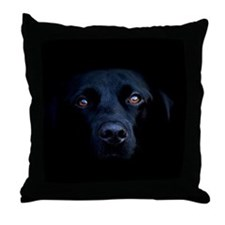 MIDNIGHT BLACK LAB Throw Pillow