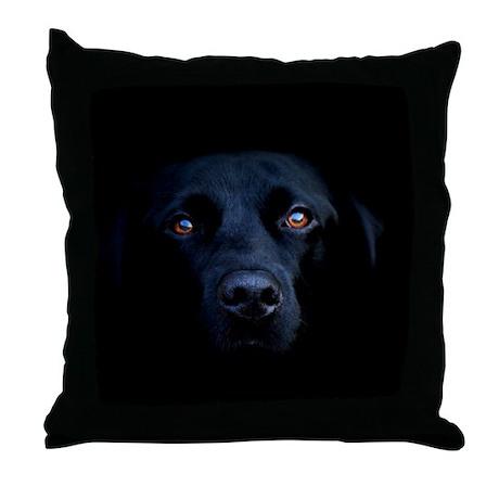 MIDNIGHT BLACK LAB Throw Pillow