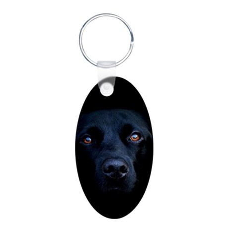 MIDNIGHT BLACK LAB Aluminum Oval Keychain