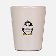I Love Penguins penguin Shot Glass