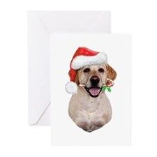 Yellow Lab Santa (b) Greeting Cards (Pk of 20)