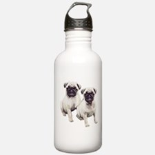 Pugs sitting Water Bottle