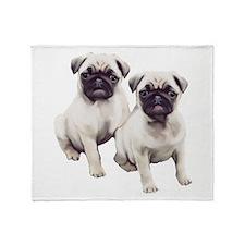 Pugs sitting Throw Blanket
