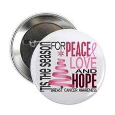 """Christmas 1 Breast Cancer 2.25"""" Button"""