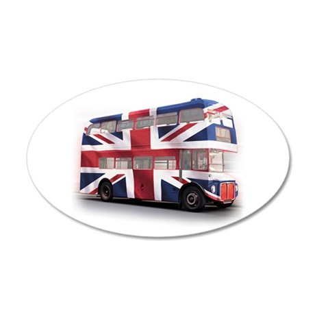 London Bus with Union Jack an 38.5 x 24.5 Oval Wal