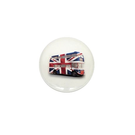 London Bus with Union Jack an Mini Button (10 pack