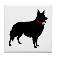 Christmas or Holiday Collie Silhouette Tile Coaste