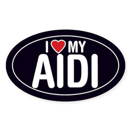 I Love My Aidi Oval Sticker/Decal