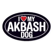I Love My Akbash Dog Oval Sticker/Decal