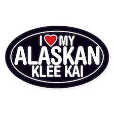 I Love My Alaskan Klee Kai Oval Sticker/Decal