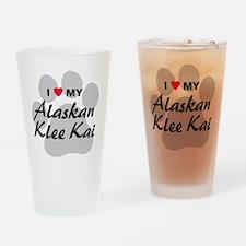 I Love My Alaskan Klee Kai Drinking Glass