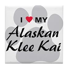 I Love My Alaskan Klee Kai Tile Coaster
