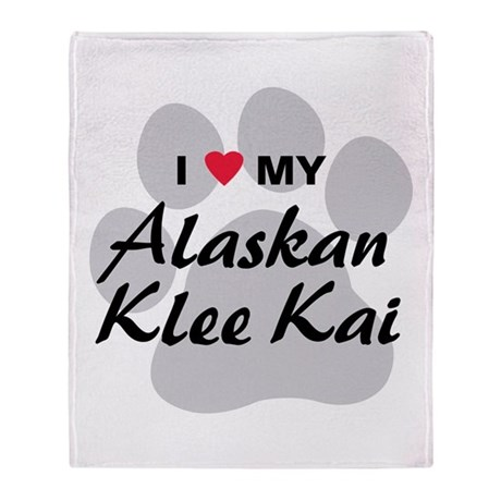 I Love My Alaskan Klee Kai Throw Blanket
