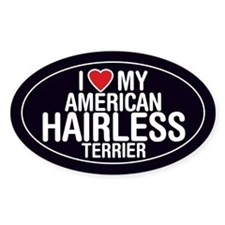 I Love My American Hairless Terrier Oval Bumper Stickers