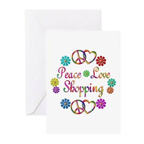 Peace Love Shopping Greeting Cards (Pk of 10)