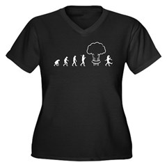 Nuclear Evolution Women's Plus Size V-Neck Dark T-