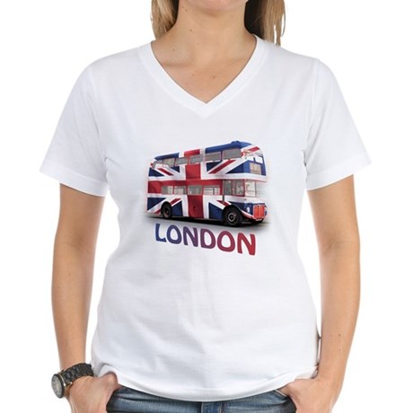 London Bus with Union Jack an Women's V-Neck T-Shi