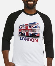 London Bus with Union Jack an Baseball Jersey