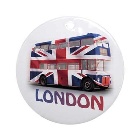 London Bus with Union Jack an Ornament (Round)