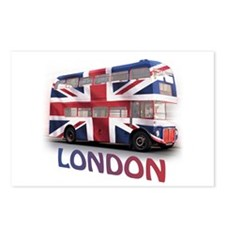 London Bus with Union Jack an Postcards (Package o