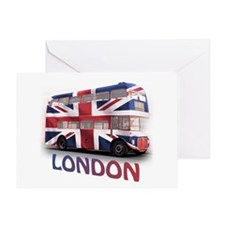 London Bus with Union Jack an Greeting Card