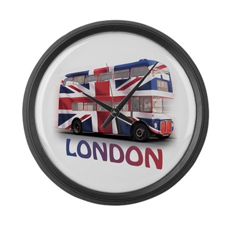London Bus with Union Jack an Large Wall Clock