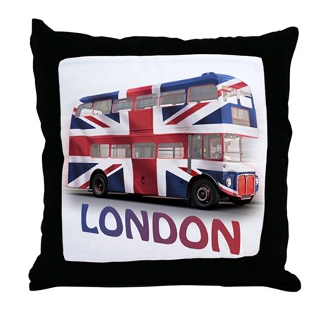 London Bus with Union Jack an Throw Pillow