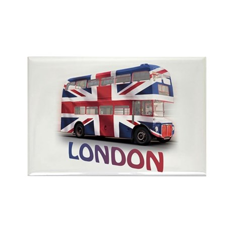 London Bus with Union Jack an Rectangle Magnet